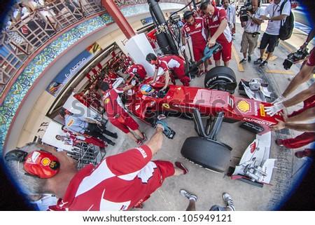 VALENCIA, SPAIN - JUNE 23: Fernando Alonso in the Formula 1 Grand Prix of Europe, Valencia Street Circuit. Spain on June 23, 2012
