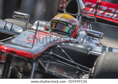 VALENCIA, SPAIN - JUNE 23: Lewis Hamilton in the Formula 1 Grand Prix of Europe, Valencia Street Circuit. Spain on June 23, 2012