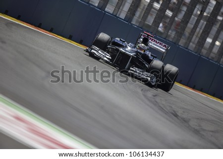 VALENCIA, SPAIN - JUNE 24: Pastor Maldonado in the Formula 1 Grand Prix of Europe, Valencia Street Circuit. Spain on June 24, 2012 #106134437