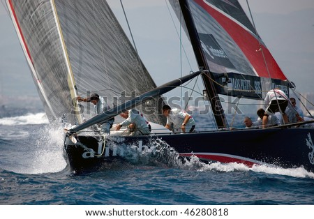 VALENCIA, SPAIN - JUNE 26: Switzerland's Alinghi in final match of 32nd America's Cup with Team New Zealand June 26, 2007, Valencia, Spain