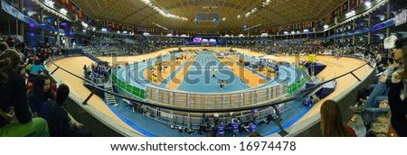 VALENCIA (SPAIN) - MARCH 2008 - 12 IAAF world indoor championship in valencia, spain 2008 - panoramic view of the track of velodromo Luis Puig