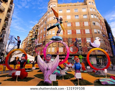 VALENCIA, SPAIN - MARCH 16: Las Fallas, papermache models are displayed during traditional celebration in praise of St Joseph on March 16, 2013, in Valencia, Spain. Celebration is annual.