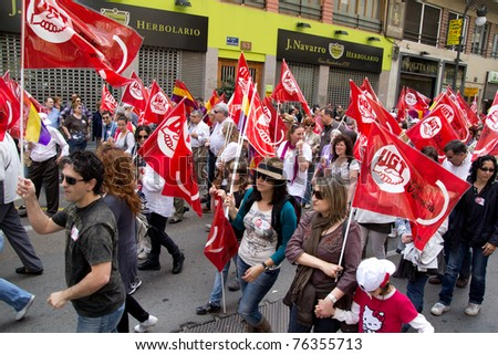 VALENCIA, SPAIN - May 01:  Labor Unions take to the streets of Valencia to march against the reduction of worker rights  on May 1, 2011 in Valencia, Spain.
