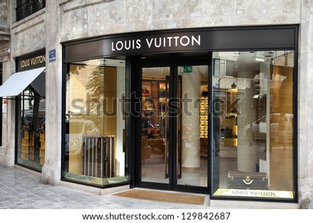 VALENCIA, SPAIN - OCTOBER 9: Louis Vuitton store on October 9, 2010 in Valencia, Spain. Forbes says that Louis Vouitton was the most powerful luxury brand in the world in 2008 with $19.4bn USD value. - stock photo