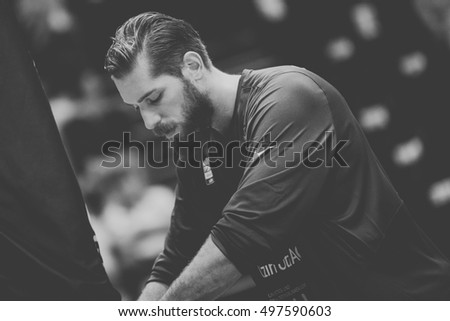 VALENCIA, SPAIN - OCTOBER 12th: Tim Ohlbrecht during Eurocup match between Valencia Basket and Ratiopharm Ulm at Fonteta Stadium on October 12, 2016 in Valencia, Spain #497590603