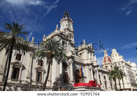 Valencia, Spain. Old architecture - famous city hall.