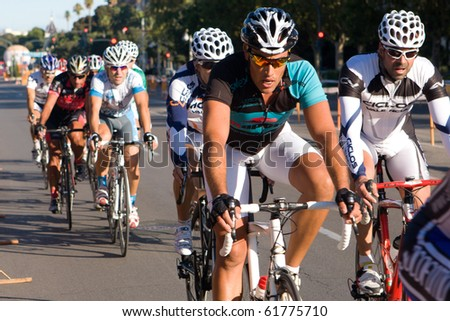 VALENCIA, SPAIN - SEPT 26: Unidentified riders participate in the XI City of Valencia Cycling Event on September 26, 2010 in Valencia, Spain.