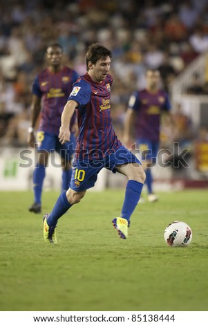 VALENCIA, SPAIN - SEPTEMBER 21 : Messi in the Spanish Soccer League between Valencia C.F. vs F.C. Barcelona - Mestalla Luis Casanova Stadium - Spain on September 21, 2011