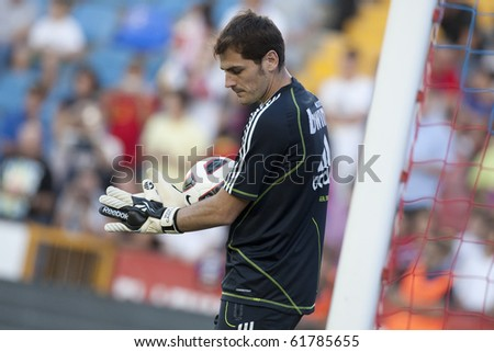 VALENCIA, SPAIN - SEPTEMBER 25:Spanish Professional Soccer League, Levante U.D. vs Real Madrid - Ciudad de Valencia Stadium - Iker Casillas - Spain on September 25, 2010 in Valencia.