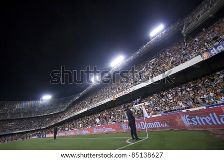 VALENCIA, SPAIN - SEPTEMBER 21:Stadium Panoramic view in the Spanish Soccer League between Valencia C.F. vs F.C. Barcelona - Mestalla Luis Casanova Stadium - Spain on September 21, 2011