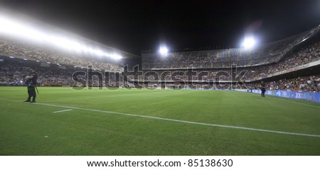 VALENCIA, SPAIN - SEPTEMBER 21:Stadium Panoramic view in the Spanish Soccer League between Valencia C.F. vs F.C. Barcelona - Mestalla Luis Casanova Stadium - Spain on September 21, 2011