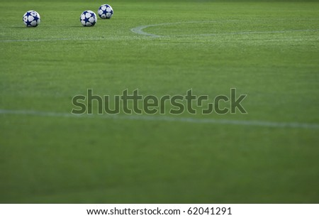 VALENCIA, SPAIN - SEPTEMBER 29: UEFA Champions League, Valencia C.F. vs Manchester United, Mestalla Stadium, UEFA official ball, Spain on September 29, 2010 - stock photo