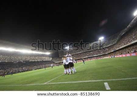 VALENCIA, SPAIN - SEPTEMBER 21 : Valencia Team in the Spanish Soccer League between Valencia C.F. vs F.C. Barcelona - Mestalla Luis Casanova Stadium - Spain on September 21, 2011