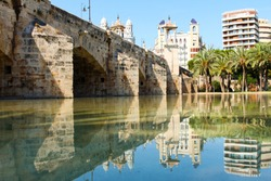 Valencia, Spain, view of the city park, which is a former river