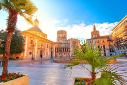 Valencia Spain Virgin Square Architecture with Sunrise