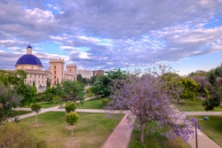 Valencia Turia River gardens Jardin del Turia, Fine Arts Museum, leisure and sport area, Spain. sunset panorama.