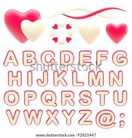 Valentine abc alphabet set with love emblems isolated on white