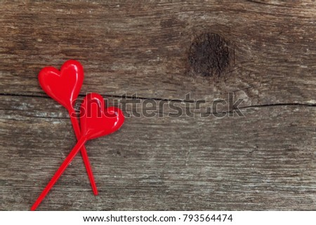 Valentine Background Concept With Red Hearts On Rustic Wood Happy