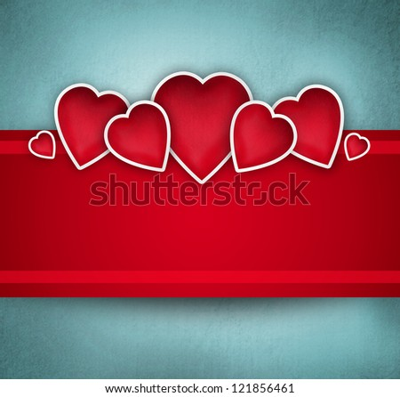 Valentine background: cute hearts and red ribbon over paper texture