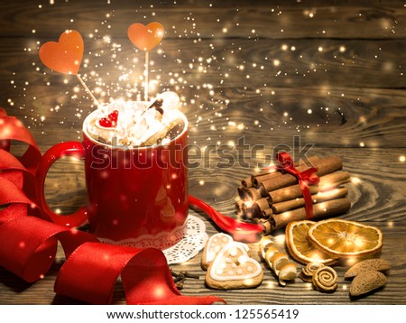 Valentine background with Fresh delicious cookies and cup