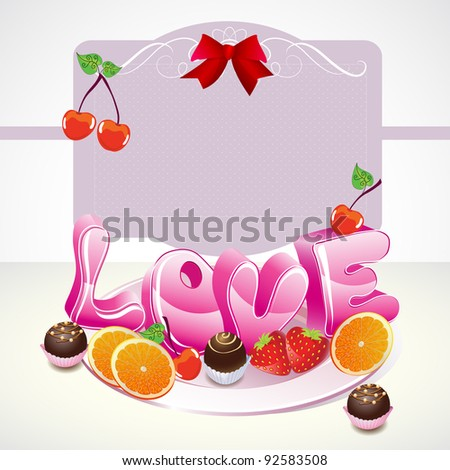 Valentine background with sweets, fruit, berries and love on the plate