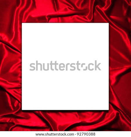 Valentine blank paper on Elegant and soft red satin background