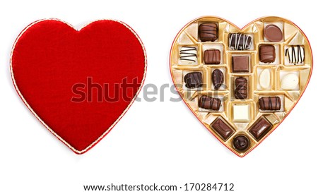 stock photo: open box of valentine candy