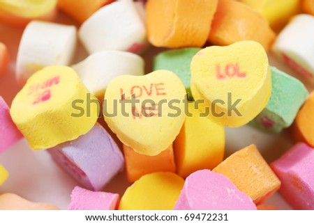 Valentine candies and deocrations