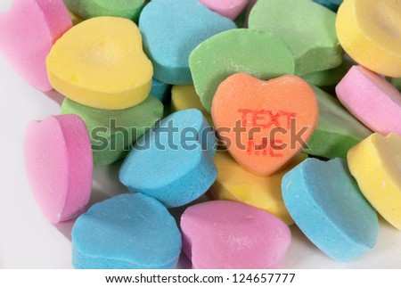 "Valentine candy hearts with ""Text Me"" saying"