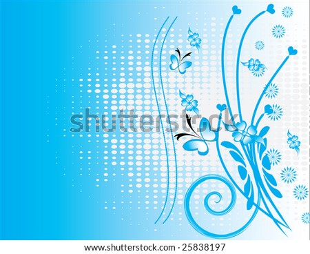 Valentine card BLUE with floral background