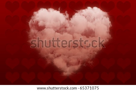 Valentine Card Cloud-shaped Heart - stock photo