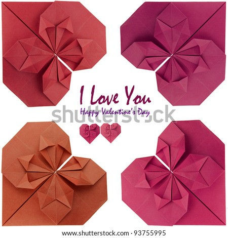 valentine card frame of  red origami hearts