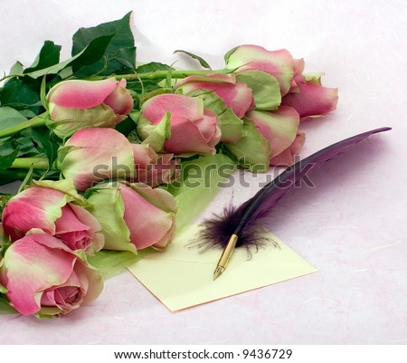 Valentine Card. Romantic still-life with a roses, a quill and a letter on a background of a pink paper surface.