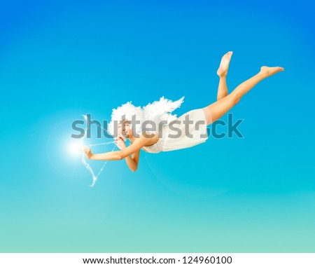 Valentine Card Vith Flying Angel on Blue