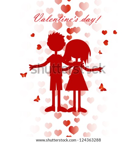 Valentine card with cute boy and girl silhouette #124363288
