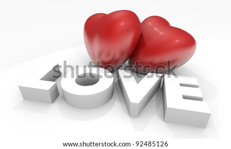 Valentine card with 3d hearts and Love text