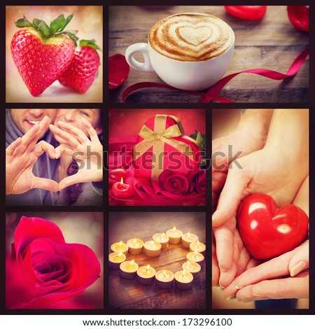 Valentine Collage Valentines Day Hearts art design Love Red heart roses lips ribbons on wooden background Coffee Gift Strawberry Flower Petals burning Candles and heart in hands
