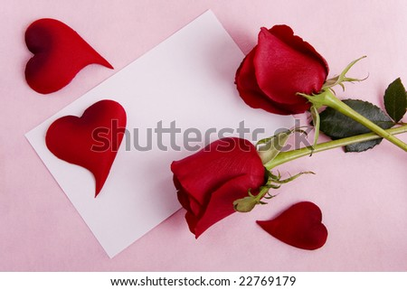 Valentine concept - Card with space for text with roses and hearts