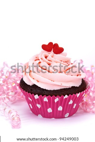 Valentine Cupcake with Hearts