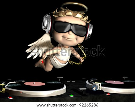 Valentine Cupid is In the House and mixing up some Valentine cheer.  Turntables with vinyl albums. Cupid with wings, bow, and heart arrow. - stock photo