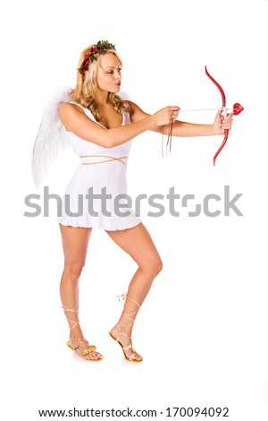 stock photo: cupid shooting arrow
