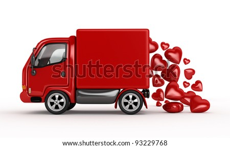 Valentine 3D Red Van with hearts