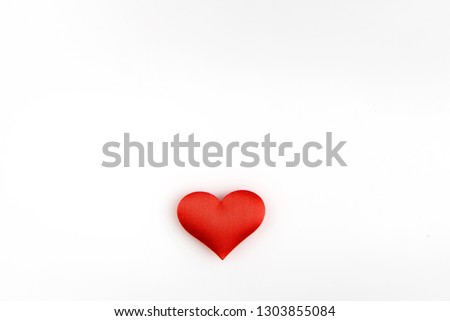 Valentine day background with red hearts isolated on white background.Heart Love symbol.Space for text.top view  #1303855084