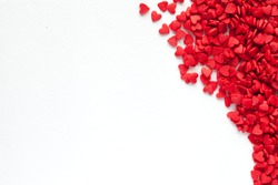 Valentine day background with red hearts, top view