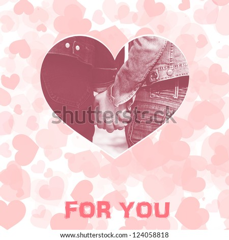 Valentine day card in pastel colours with hearts and couple holding hands