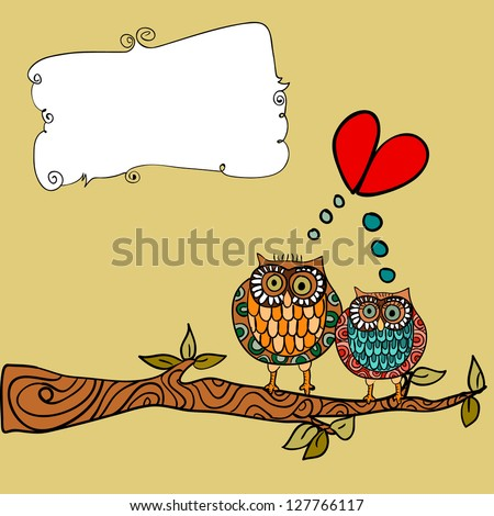 Valentine day lovely owls couple in tree branch greeting card background.