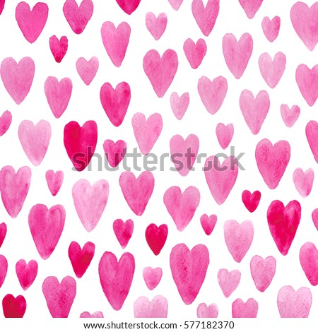 Valentine day pink hearts drawn on white paper pattern as background image #577182370