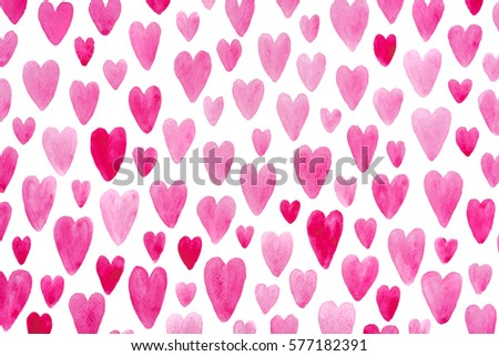 Valentine day pink hearts drawn on white paper pattern as background image #577182391