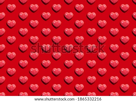 Valentine Day. Red seamless background. Heart pattern. Greeting card. Love symbol ornament minimalist symmetrical romantic composition isolated on bright. Foto stock ©