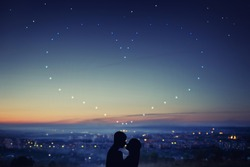 Valentine Day. Silhouette of couple against background of night city, stars and horizon. Concept first love